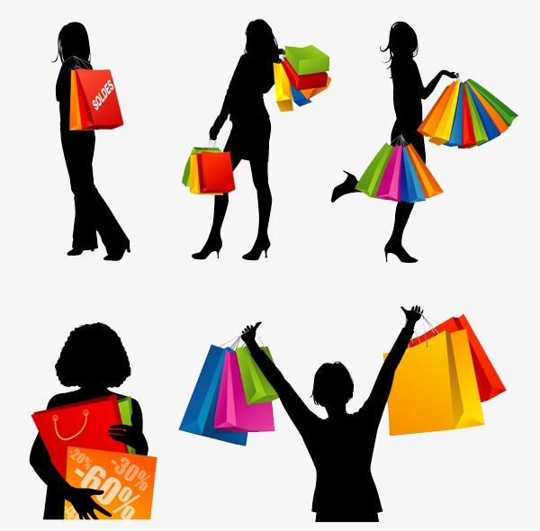 600x590 Shopping Silhouette, Shopping Bag, Silhouette, Black Png Image