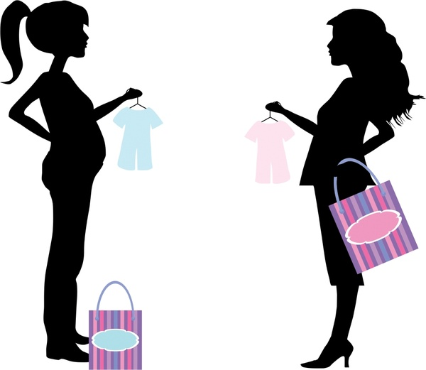 600x521 Shopping Pregnant Women Illustration With Silhouette Style Free