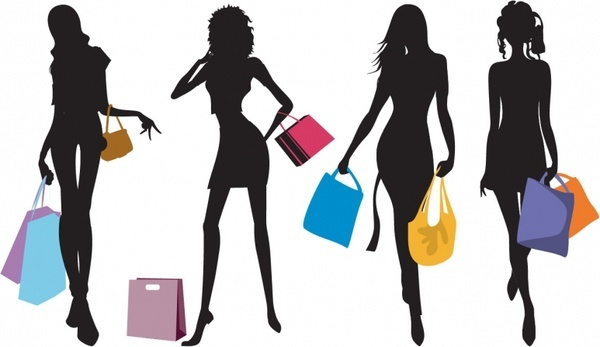 600x347 Shopping Silhouette Free Vector Download (6,838 Free Vector)
