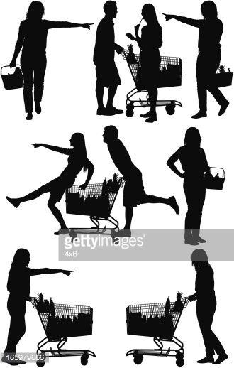 330x518 Silueta De Gente De Compras En El Supermercado Figures Amp Poses