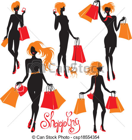 445x470 Set Of Shopping Woman Silhouettes Isolated On White Clipart