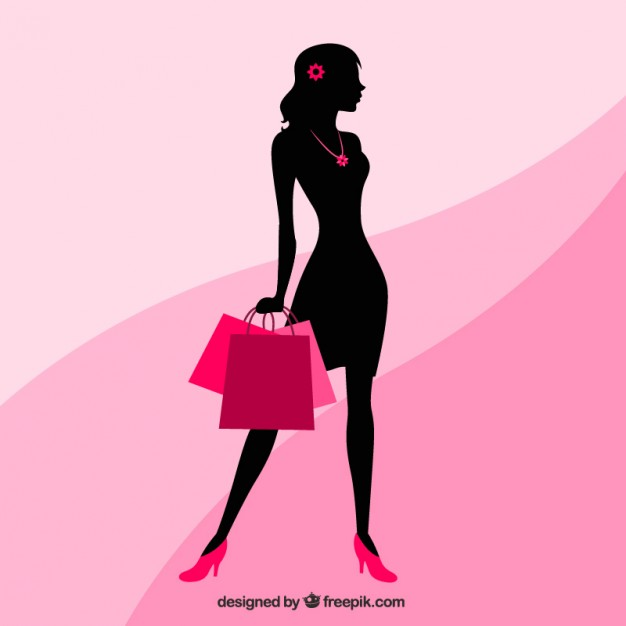 626x626 Silhouette Of A Woman With Shopping Bags Vector Free Download