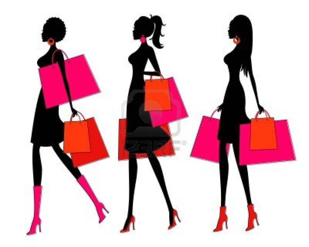 1200x960 Vector Illustration Of Three Young Women Holding Shopping Bags