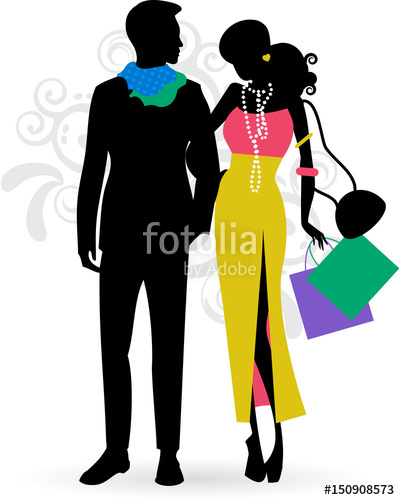 400x500 Fashion Silhouette Of Womannd Man With The Shopping Bags In