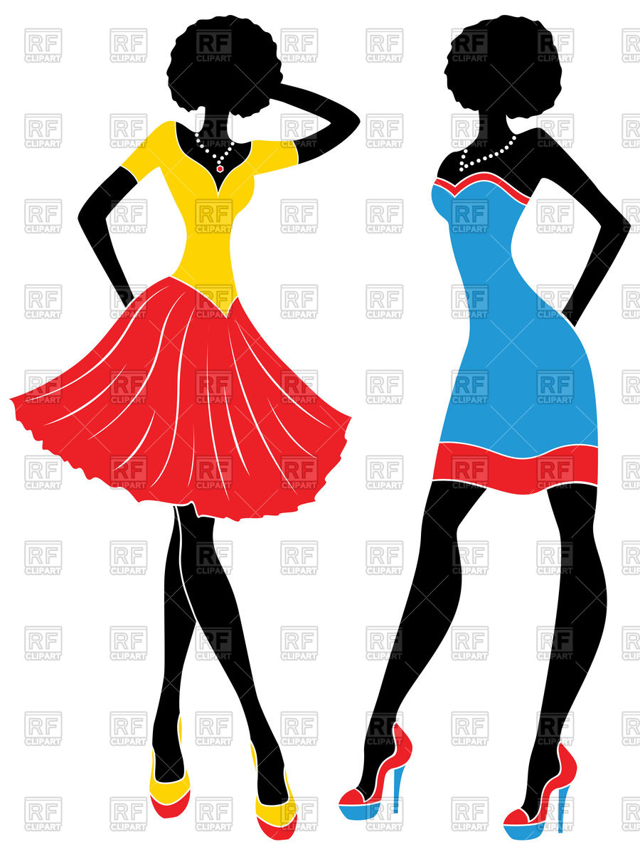 900x1200 Silhouette Of Graceful Fashion Models In Short Colorful Modern