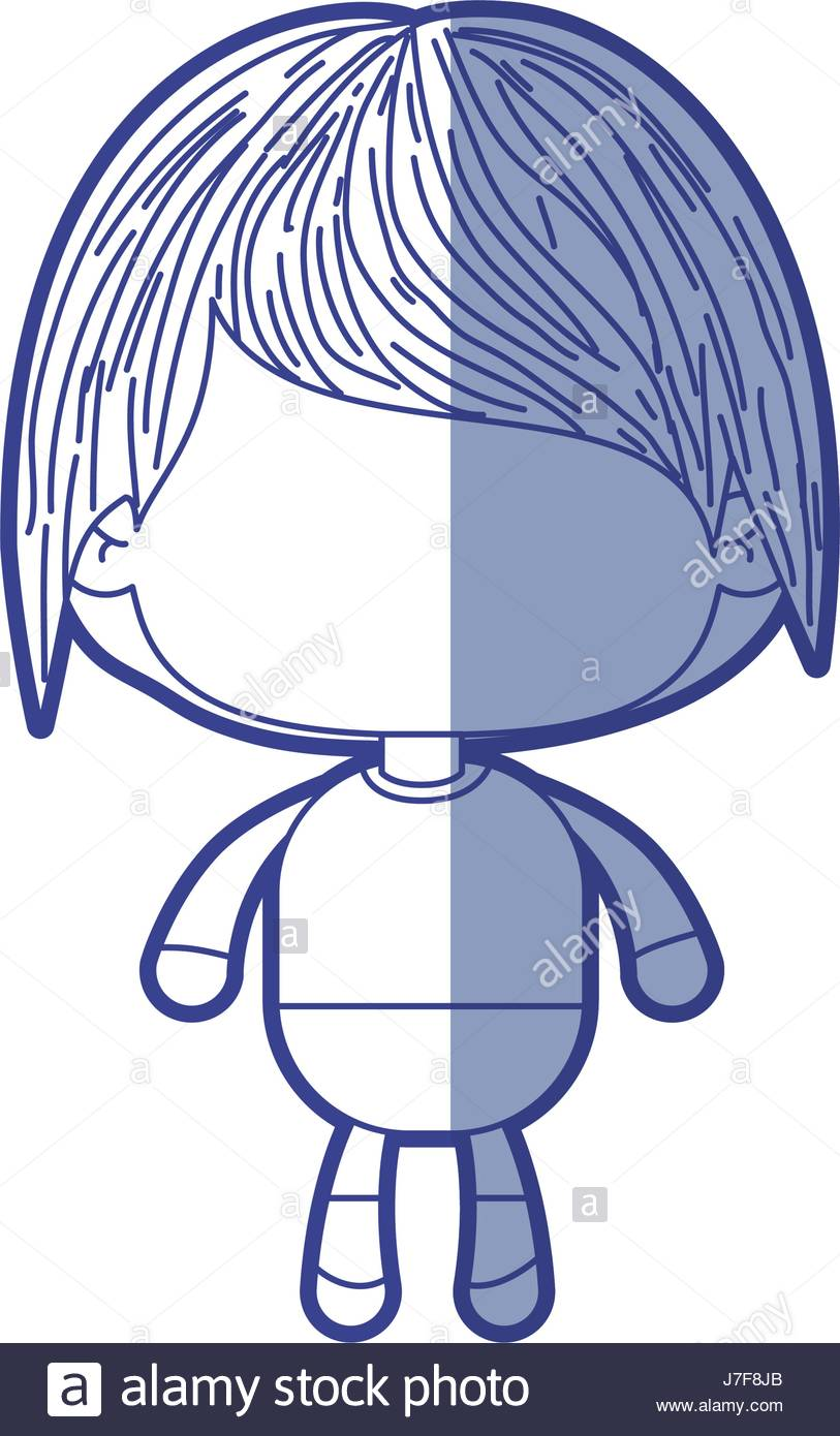813x1390 Blue Shading Silhouette Of Faceless Little Boy With Short Wavy
