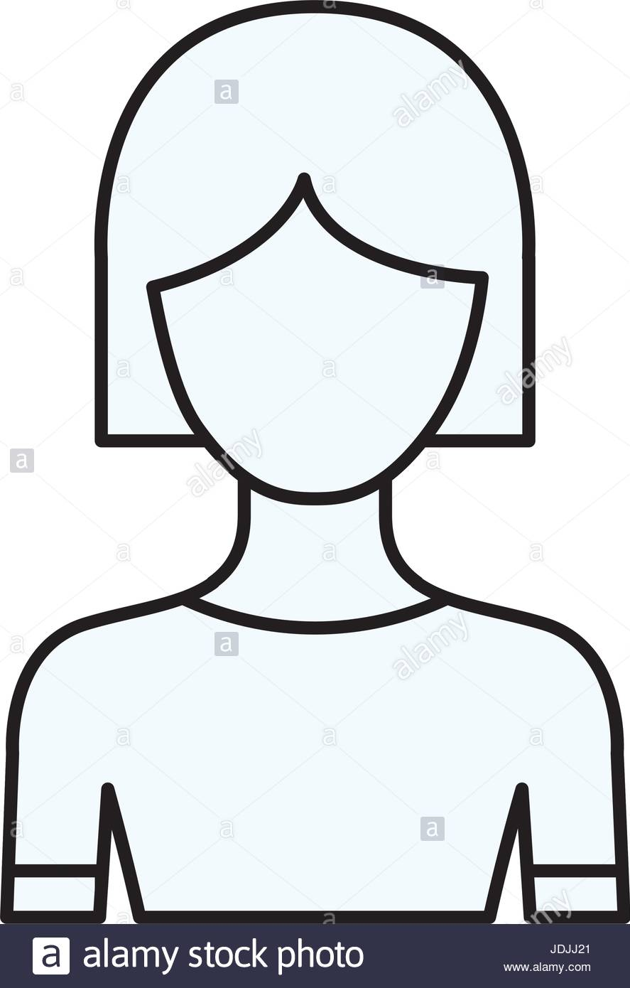 887x1390 Sketch Silhouette Of Faceless Half Body Woman With Short Hair