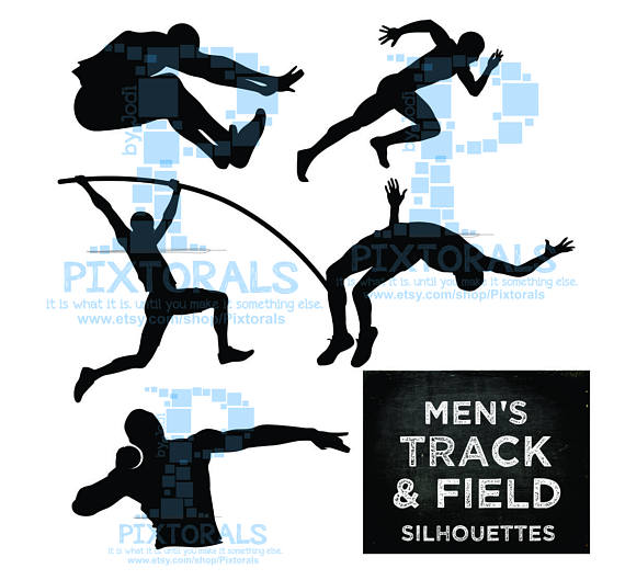 570x529 5 Men's Track Amp Field Silhouettes Eps File Svg Dxf