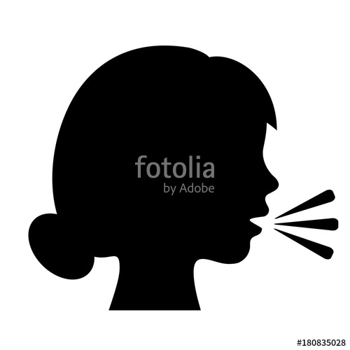 500x500 Speaking Woman Silhouette Icon Stock Image And Royalty Free