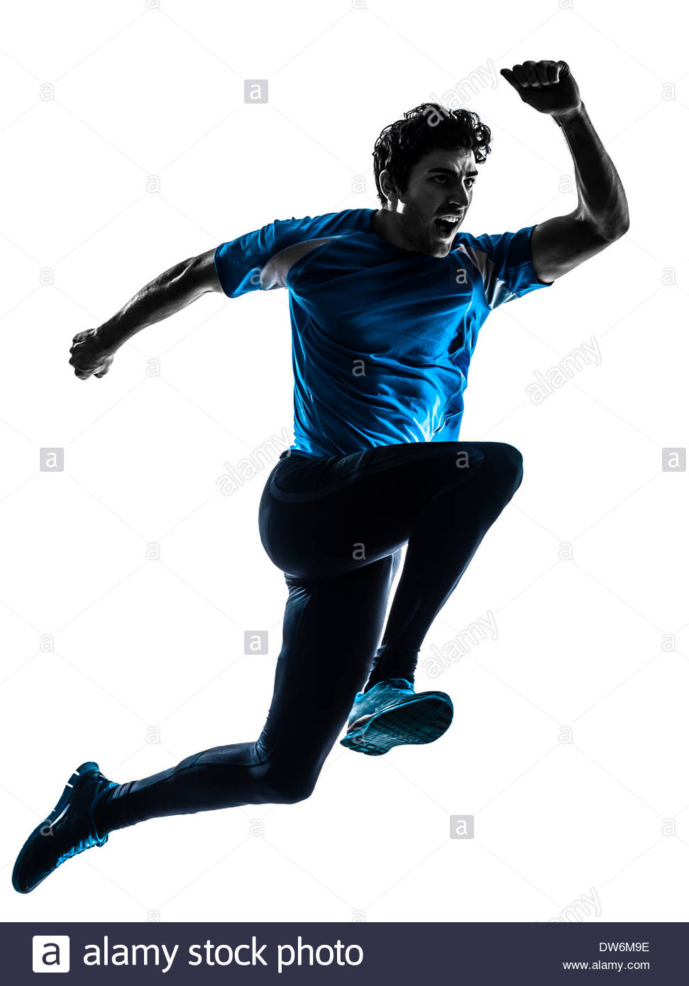 971x1390 One Man Running Sprinting Jogging Shouting In Silhouette Studio