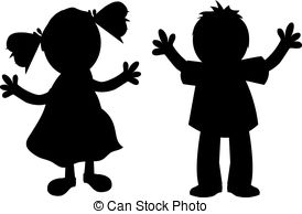 274x194 Children Talking, Silhouette Eps Vectors