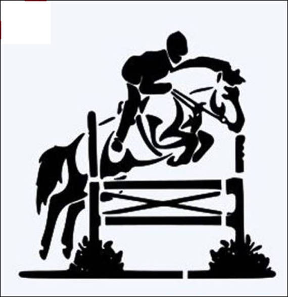 570x586 Showjumping Horse And Rider 190 Micron Mylar Stencil Durable