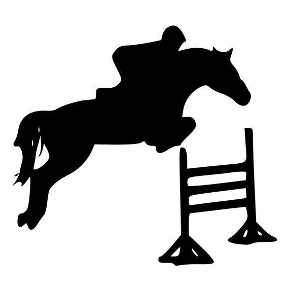 570x570 Horse Jumping Over Fence Die Cut Decal Car Window Wall Bumper