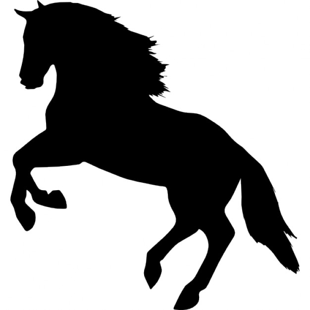 626x626 Jumping Horse Silhouette Facing Left Side View Icons Free Download