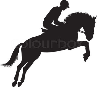 320x287 Set Of A Jumping Horse With Rider Silhouettes Stock Vector