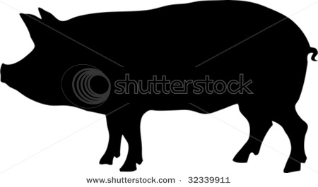 450x265 Art Silhouette Of A Pig Standing Up In A Vector Clip Art Illustration
