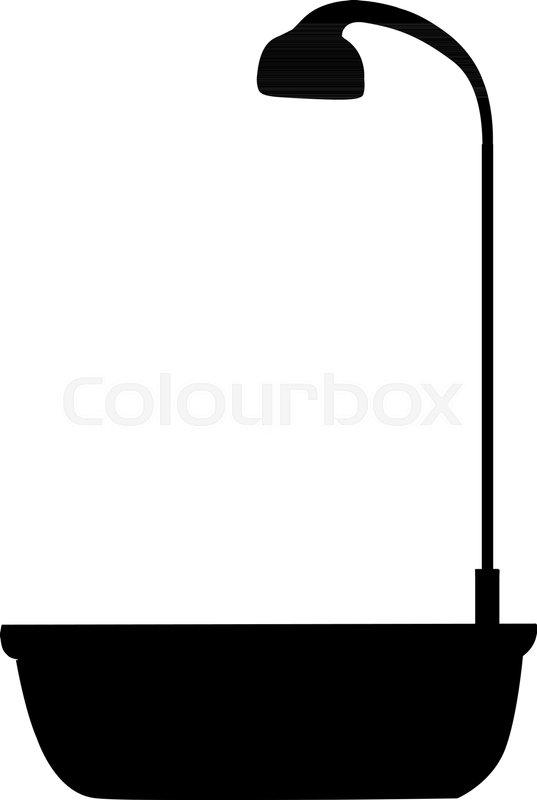 537x800 Black Silhouette Of Bathtub With Shower Head Icon Isolated