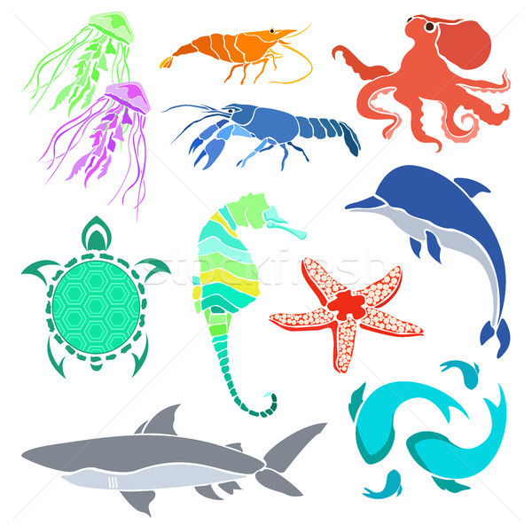 600x600 Silhouettes Of Various Sea Creatures. Shrimp, Cancer, Jellyfish