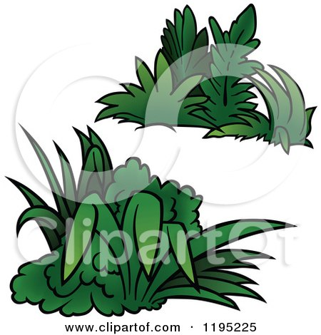 450x470 Clipart Of A Border Of Silhouetted Green Weeds And Butterflies