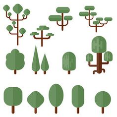 236x236 Isometric Vector Color Tree Set To Create A Landscape Tree