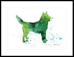 250x191 Abstract Siberian Husky Watercolor Art Print Painting Painting By