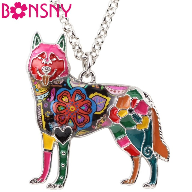 640x640 Bonsny Statement Maxi Enamel Chain Siberian Husky Choker Necklace