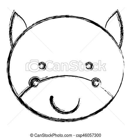 450x470 Blurred Silhouette Caricature Face Cute Bull Animal Vector