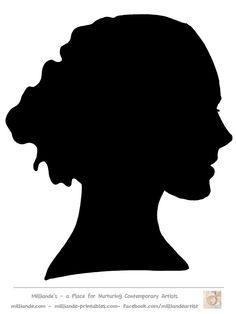 236x314 Face Silhouette Woman Stencil Template