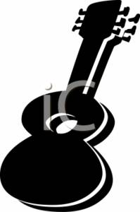 199x300 Clipart Illustration Of A Guitar Silhouette