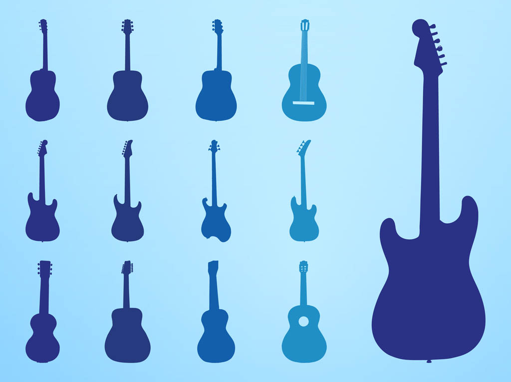 1024x765 Guitar Silhouettes Set Vector Art Amp Graphics