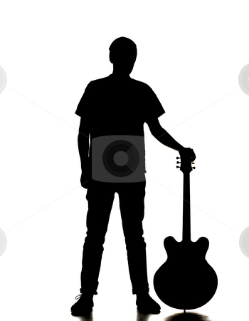 350x450 Silhouette Of A Man Playing Guitar Stock Photo