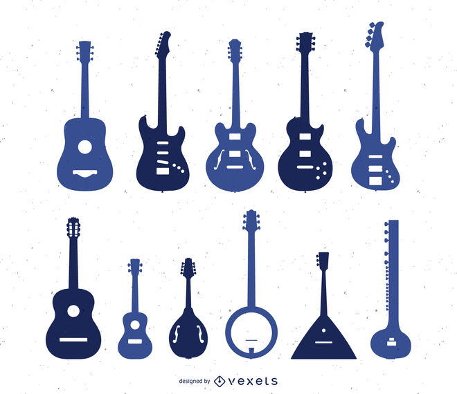 660x570 Silhouette Set Of Types Of Guitar