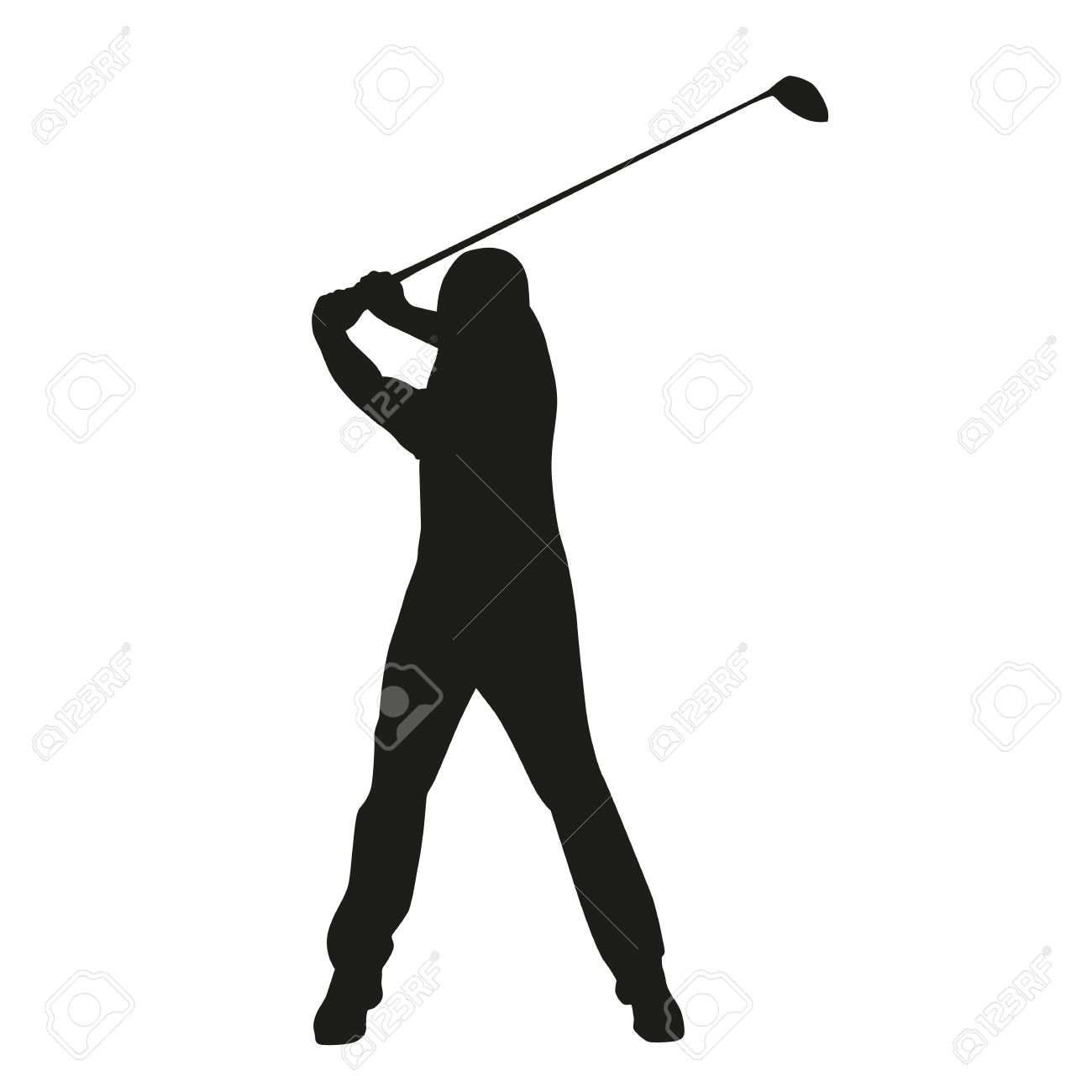 1300x1300 Picturesque Golfer Silhouette Vector Free Golf Action Material My