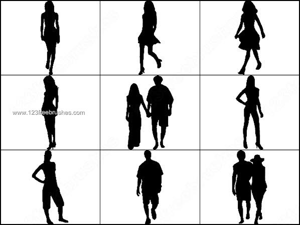 598x449 Young Girls Man Couple Silhouettes Brushes Photoshop Free