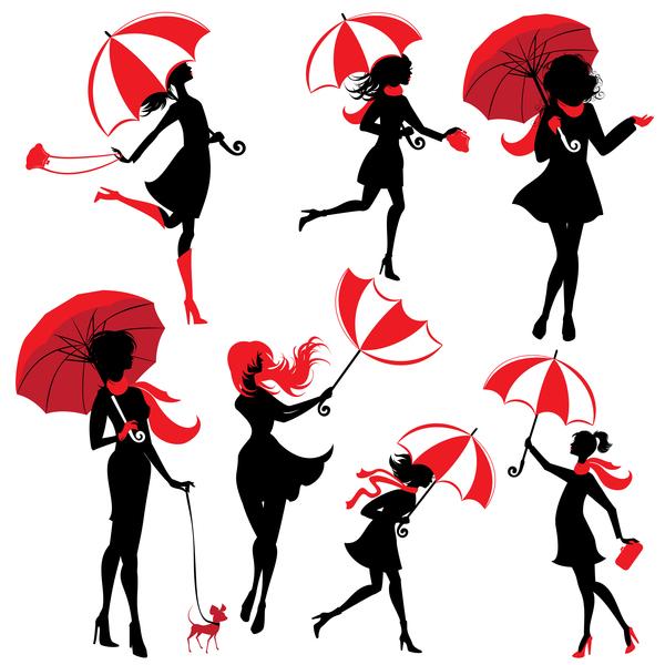 600x600 Girl Silhouette With Umbrella Vector