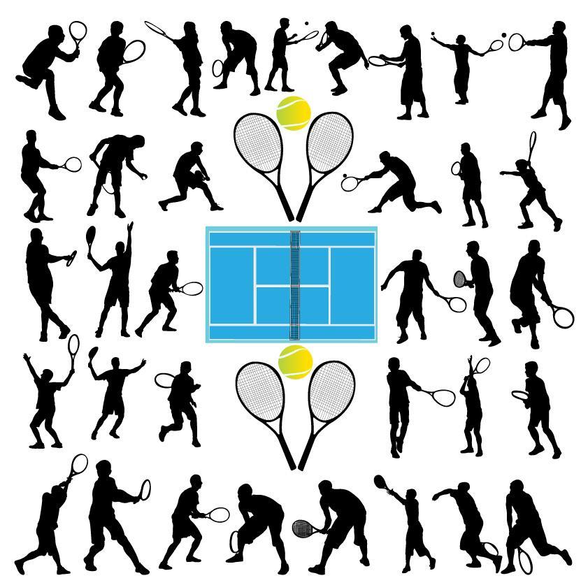 831x837 Tennis Ball Silhouette Vector Set 04