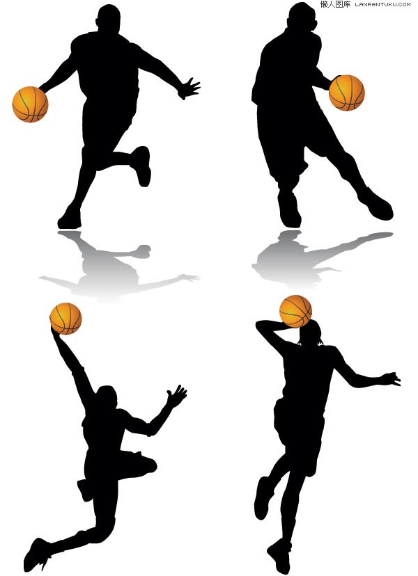 600x828 Classic Basketball Action Silhouette Vector Material My Free