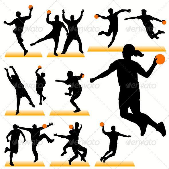 590x590 Handball Players Silhouettes Set Handball And Silhouette