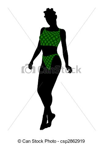 337x470 African American Female Swimsuit Silhouette. African Stock