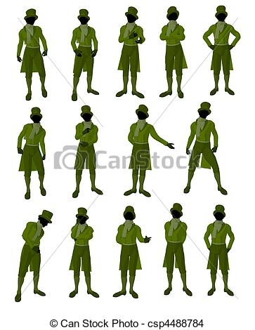 363x470 African American Male Victorian Illustration Silhouette
