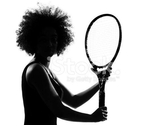 588x439 Young Afro American African Woman Silhouette Playing Tennis Stock