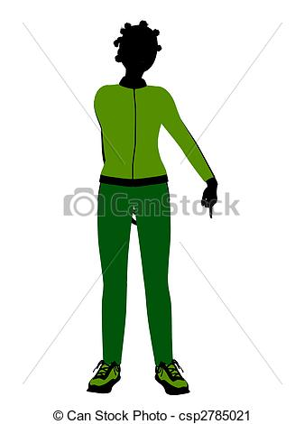 337x470 African American Female Jogger Illustration Silhouette . Clipart