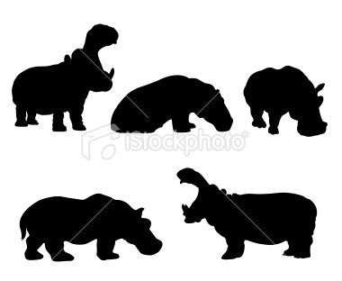 380x312 Hippopotamus Silhouettes. Five Different Positions Including