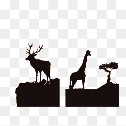 260x261 African Wildlife Silhouette Background, Leopard, Elephant