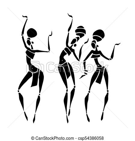 450x470 African Beautiful Women. Silhouette Of Woman. African Clipart