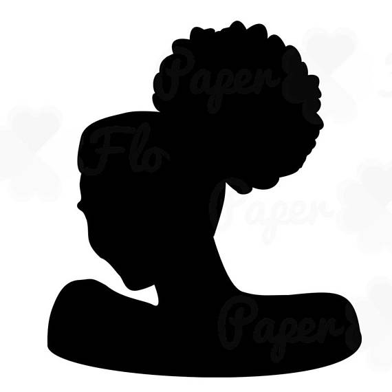 570x570 Afro Puff Silhouette Svg Clip Art African Woman Natural Curly