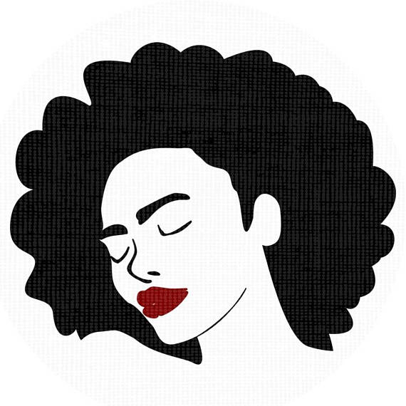 570x570 Black Woman Afro Silhouette Svg Clip Art Natural Nappy Curly Hair