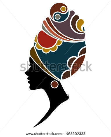 381x470 African American Woman Silhouette Afro Portrait Vector
