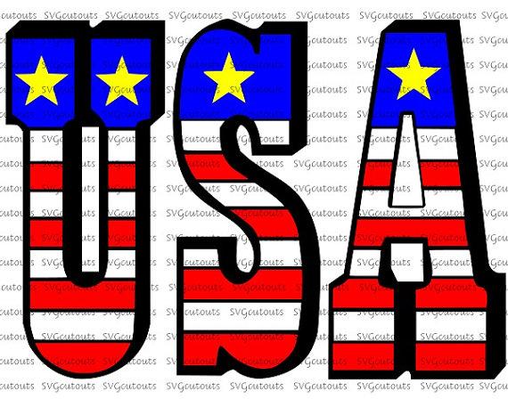 570x448 American Flag Usa Word Design, Patriotic July 4th Design Svg, Eps