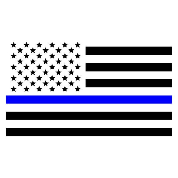 570x570 Thin Blue Line American Flag, Law Enforcement Car, Window, Wall